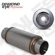 """DIAMOND EYE MANUFACTURING 560020 EXHAUST MUFFLER  5"""" PERFORATED PACKED MUFFLER 20 OVERALL  14 BODY  7 CASE 409 STAINLESS STEEL"""
