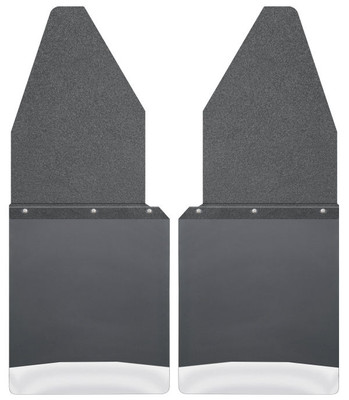 """HUSKY LINERS 17104 KICK BACK MUD FLAPS 12"""" WIDE - BLACK TOP AND STAINLESS STEEL WEIGHT (1988-2020 Ford F-150)"""