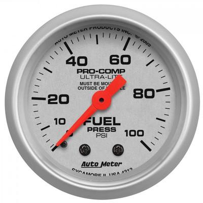 "AUTOMETER 4312 2-1/16"" FUEL PRESSURE, 0-100 PSI, MECHANICAL, ULTRA-LITE UNIVERSAL"