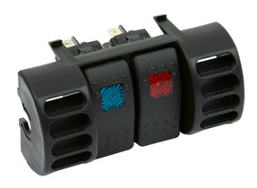 DAYSTAR KJ71036BK 87-96 Jeep TJ Upper Air Vent Switch Pod W/ 2 Rocker Switches Blue and Red Daystar