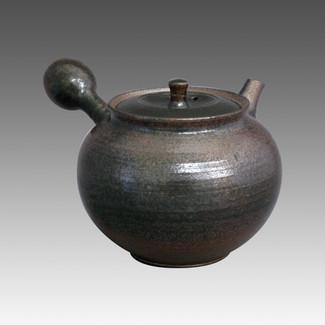 Tokoname Kyusu teapot - HOKUJO - Black 240cc/ml - sasame ceramic fine mesh with wooden box - Item Image