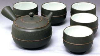 Tokoname Kyusu Teaset - REIKO - 1pot & 5yunomi cups with wooden box - Item Image