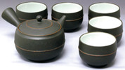 Tokoname Kyusu Teaset - REIKO - 1pot & 5yunomi cups with wooden box - Item Image