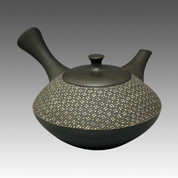 Tokoname Kyusu teapot - SHUHO - Cloth Black 270cc/ml - sasame ceramic fine mesh with wooden box - Item Image