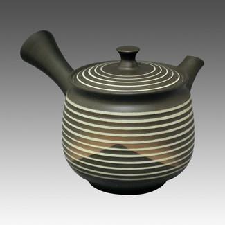 Tokoname Kyusu teapot - SHUHO - Mountain Black 280cc/ml - sasame ceramic fine mesh with wooden box - Item Image