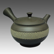 Tokoname Kyusu teapot - SHUHO - Cloth Belt Black 270cc/ml - sasame ceramic fine mesh with wooden box - Item Image