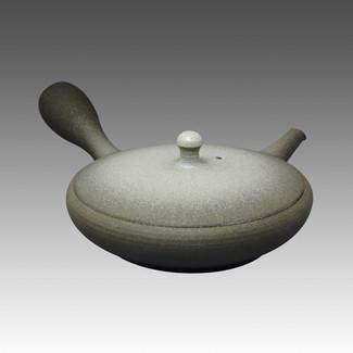 Tokoname Kyusu teapot - JUNZO - Flat Black & White 100cc/ml - sasame ceramic fine mesh with wooden box - Item Image