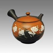Tokoname Kyusu teapot - YOSHIKI - Vermilion Fan SAKURA 340cc/ml - ceramic fine mesh with wooden box - Item Image