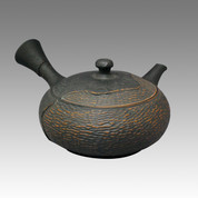 Tokoname Kyusu teapot - YOSHIKI - Black Cut 240cc/ml - ceramic fine mesh with wooden box - Item Image