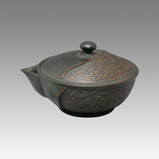 Tokoname Kyusu teapot - YOSHIKI - Black Cut 110cc/ml - ceramic fine mesh with wooden box - Item image