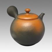 Tokoname Kyusu teapot - YOSHIKI - Vermilion Clap 320cc/ml - ceramic fine mesh with wooden box - Item Image