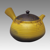 Tokoname Kyusu teapot - HAKUSAN - Yellow Algae 260cc/ml - ceramic fine mesh with wooden box - Item Image