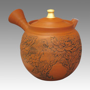 Tokoname Shudei Kyusu teapot - KAIUN(Fortune) - Gold peony & Hawk 270cc/ml - ceramic fine mesh with wooden box - Item Image