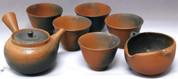 Tokoname Kyusu teaset - HAKUZAN - 1pot & 1bowl & 5cups - Set Image