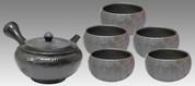Tokoname Kyusu Teaset - JUSEN - Glaze Ripple 1pot & 5chawan cups - Set Image