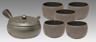 Tokoname Kyusu Teaset - JUSEN - Silver Ripple 1pot & 5chawan cups - Set Image