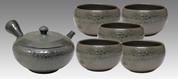 Tokoname Kyusu Teaset - JUSEN - Glaze Foaming 1pot & 5chawan cups - Set Image