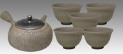 Tokoname Kyusu Teaset - JUSEN - Mud Foaming 1pot & 5chawan cups - set Image