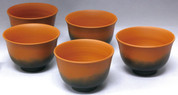 Vermilion - Tokoname Pottery Tea Cup : 5chawan - Japanese casual ceramic - Set Image