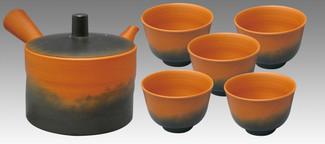 Tokoname Kyusu Teaset 2 - KOJI - Vermilion 1pot & 5chawan cups - Set Image