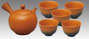 Tokoname Kyusu Teaset 3 - KOJI - Vermilion 1pot & 5chawan cups - Set Image