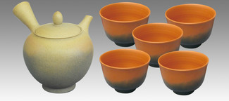 Tokoname Kyusu Teaset - KOJI - Dawning 1pot & 5chawan cups - Set Image