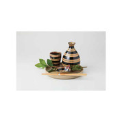 Sake Bottle & Cup Set - Koma Stripe - Japanese Hasami Porcelain