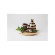 Sake Bottle & Cup Set - Koma Stripe - Japanese Hasami Porcelain