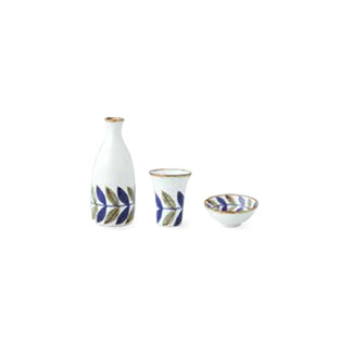 Sake Bottle & Cup Set - Leaf - Japanese Hasami Porcelain