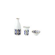 Sake Bottle & Cup Set - Leaf - Japanese Hasami Porcelain