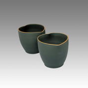 Heart - Tokoname Pottery Tea Cup : 2chawan - Japanese casual ceramic - Set Image