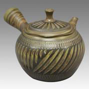 Tokoname Kyusu teapot - NAGASABURO - Kneading cut 360cc/ml - obi ami stainless steel net - Item Image