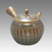 Tokoname Kyusu teapot - NAGASABURO - Middle belt 360cc/ml - obi ami stainless steel net - Item Image