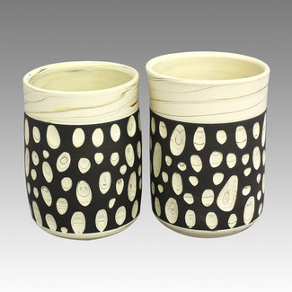 Couple Yunomi Polka dot - Tokoname Pottery Tea Cup : 2chawan - Japanese casual ceramic - Set Image