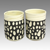 Couple Yunomi Polka dot - Tokoname Pottery Tea Cup : 2chawan - Japanese casual ceramic - Set Image