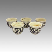 Polka dot - Tokoname Pottery Tea Cup : 5chawan - Japanese casual ceramic - Set Image