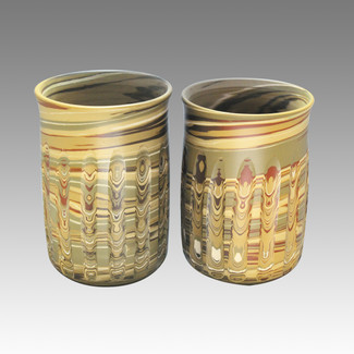 Couple Yunomi Vertical cutting - Tokoname Pottery Tea Cup : 2yunomi - Japanese casual ceramic - Set Image