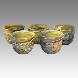 Vertical cutting - Tokoname Pottery Tea Cup : 5yunomi - Japanese casual ceramic - Set Image