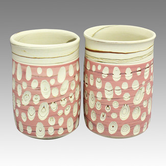 Couple Yunomi Pink Polka dot - Tokoname Pottery Tea Cup : 2yunomi - Japanese casual ceramic - Set Image