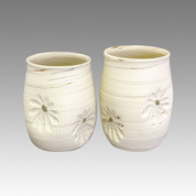 Couple Yunomi White Flower - Tokoname Pottery Tea Cup : 2yunomi - Japanese casual ceramic - Set Image