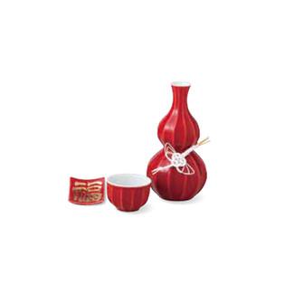 Sake Bottle & Cup Set - Kotobuki Fortune Red - Japanese Arita-yaki porcelain w box