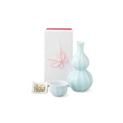 Sake Bottle & Cup Set - Kotobuki Fortune White - Japanese Arita-yaki porcelain w box