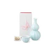 Sake Bottle & Cup Set - Kotobuki Fortune White - Japanese Arita-yaki porcelain w box