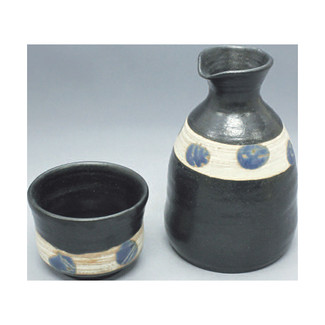 Sake Bottle & 2 Cup Set - Konsei - Japanese Tokoname-yaki pottery ceramic