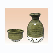 Sake Bottle & 2 Cup Set - Konsei Oribe - Japanese Tokoname-yaki pottery ceramic