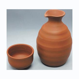 Sake Bottle & 2 Cup Set - Kenji - Japanese Tokoname-yaki pottery ceramic