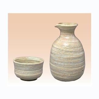 Sake Bottle & 2 Cup Set - Konsei (C) - Japanese Tokoname-yaki pottery ceramic