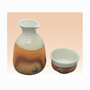 Sake Bottle & 2 Cup Set - Konsei (D) - Japanese Tokoname-yaki pottery ceramic
