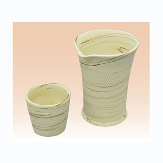 Cold Sake Bottle & 2 Cup Set - Kenji - Japanese Tokoname-yaki pottery ceramic