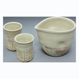 Cold (Iced) Sake Bottle & 2 Cup Set - Konsei - Japanese Tokoname-yaki pottery ceramic